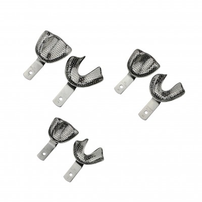 Impression tray edentulous perforated SET of 6